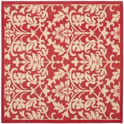 Courtyard Poolside Red/ Natural Indoor Outdoor Rug (7'10 Square)
