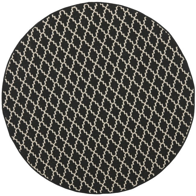Safavieh Poolside Black/ Beige Indoor Outdoor Rug (5'3 Round)