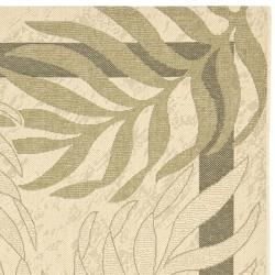 Poolside Cream/ Green Indoor Outdoor Rug (4' x 5'7)