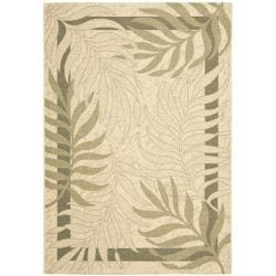 Safavieh Poolside Cream/ Green Indoor Outdoor Rug (5'3 x 7'7)