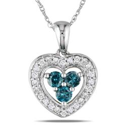 Miadora 10k White Gold 1/3ct TDW Blue and White Diamond Necklace (H-I, I1-I2)