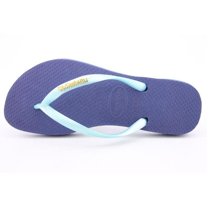 Havaianas Women's Slim Logo Metallic Blue Sandals