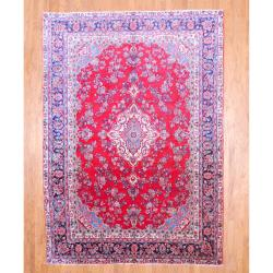 Persian Hand-knotted Sarouk Red/ Navy Wool Rug (8'6 x 11'10)