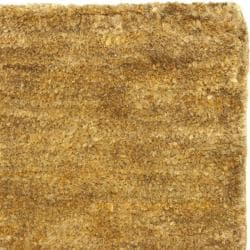 Hand-knotted Vegetable Dye Solo Carmel Hemp Rug (3' x 5')