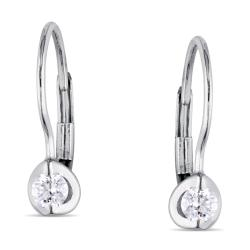 Miadora 10k White Gold 1/4ct TDW Diamond Leverback Earrings (H-I, I2-I3)