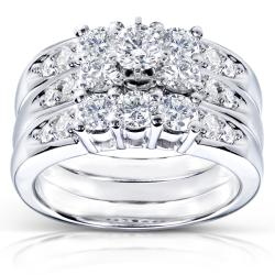 14k White Gold 1 2/5ct TDW Diamond 3-piece Bridal Ring Set (H-I, I1-I2)