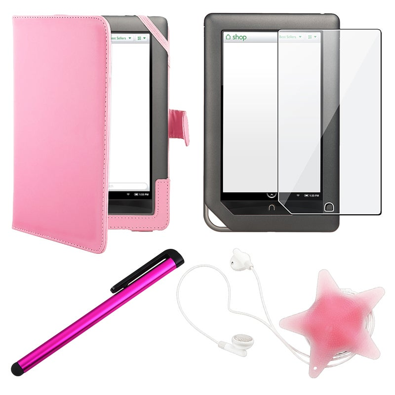 Pink Case/ LCD Protector/ Wrap/ Stylus for Barnes & Noble Nook Tablet