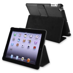 Black Carbon Fiber Stripe Leather Case for Apple iPad 2/ 3