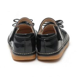 Little Blue Lamb Toddler SQ Series Black Patent Leather Squeaky Shoes