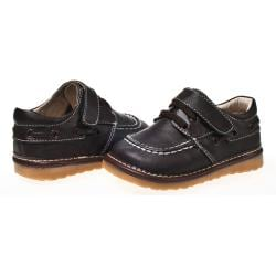 Little Blue Lamb Infant Brown Leather Squeaky Shoes with Rubber Sole
