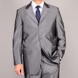 Shiny Gray Stripe 3-Button Suit
