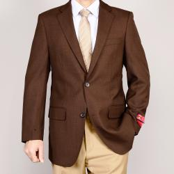 Men's Brown 2-Button Wool Sport Coat