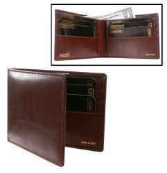 Brown Leather Slim Bi-Fold Wallet