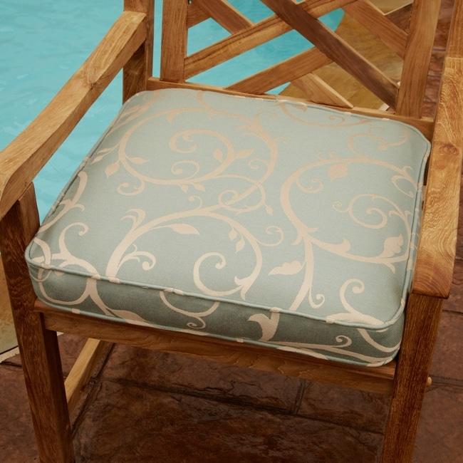 Clara Blue/ Beige Swirl 19-inch Square Outdoor Chair Cushion
