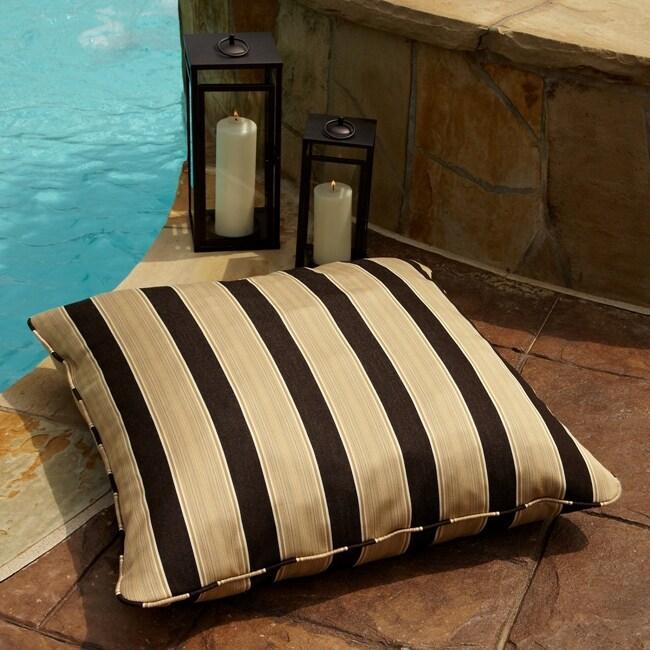 Clara Gold/ Brown Stripe 28-inch Square Outdoor Sunbrella Floor Pillow