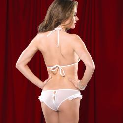 Women's Lingerie White Mesh Bikini Top and Panty Set