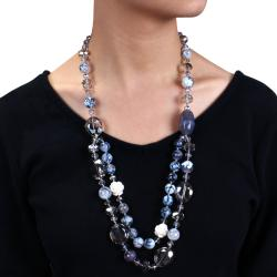 Miadora 650ct TGW Grey Agate and Crystal Bead 26-inch Necklace