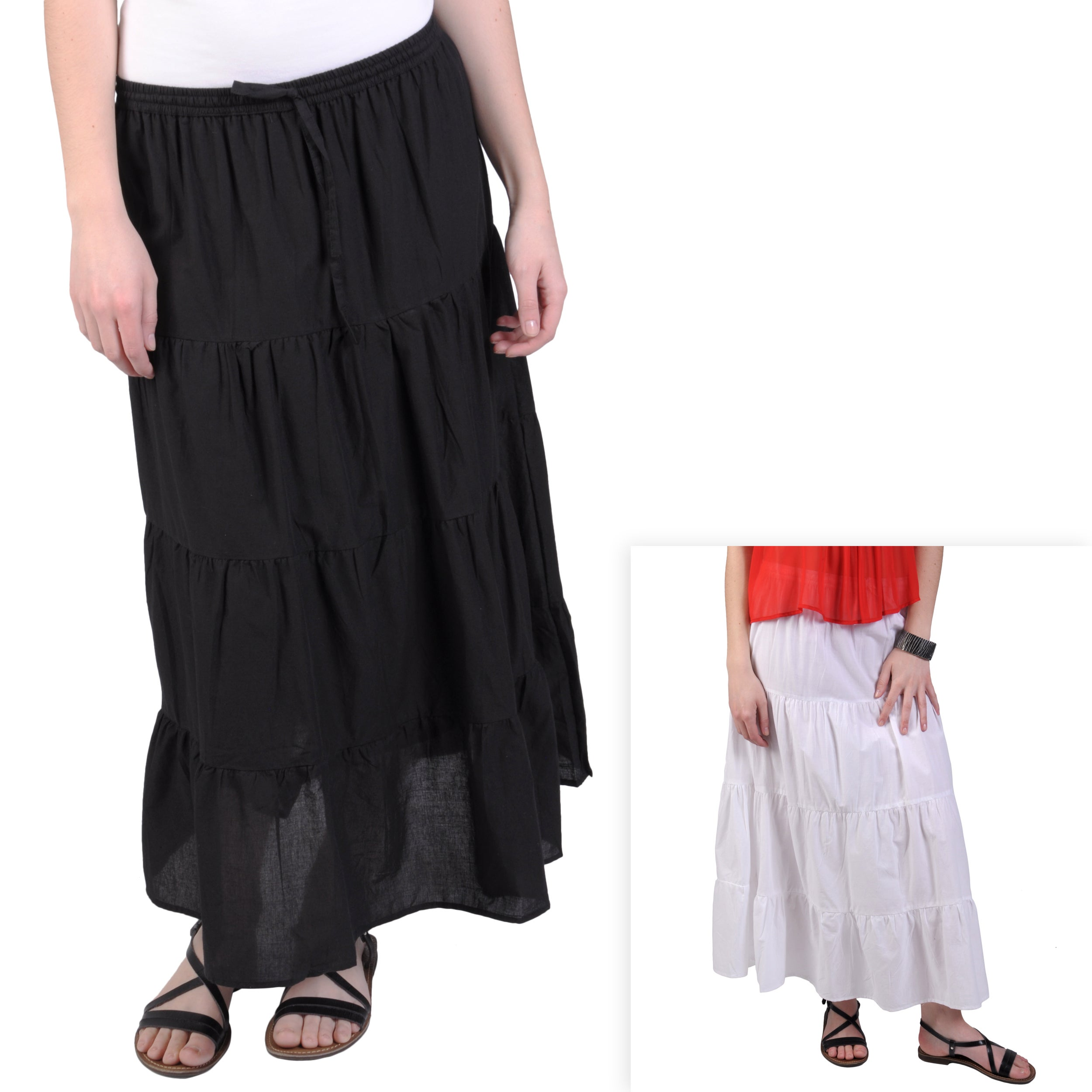 Journee Collection Women's Tiered Mid-Length Skirt w/ Self-tie