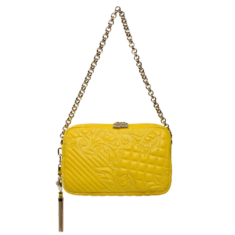 Versace 'Vanitas' Embroidered Yellow Leather Shoulder Bag