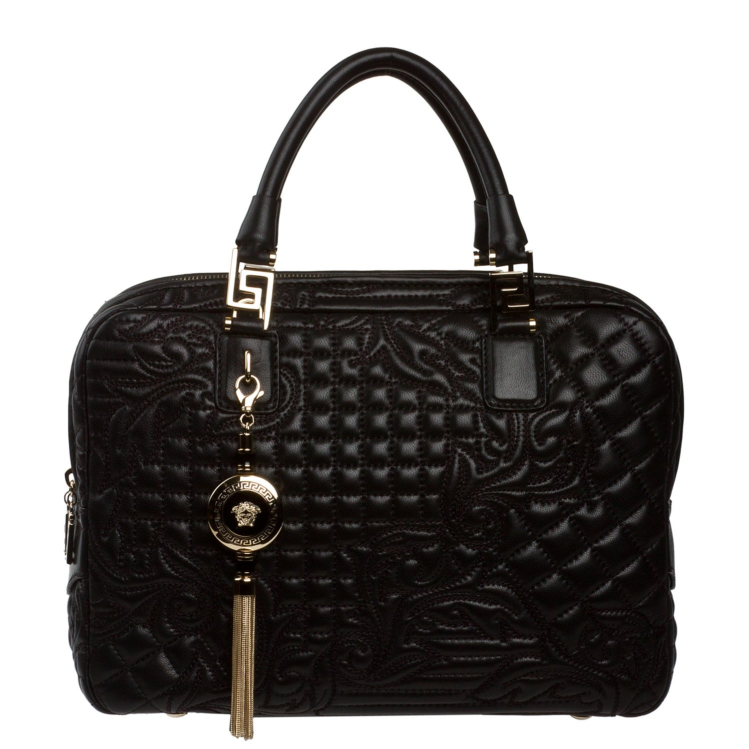 Versace Black Leather Double Zip Satchel