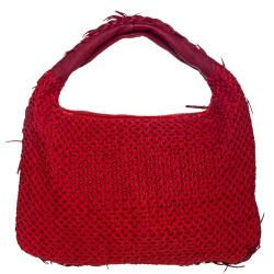 Bottega Veneta Red Leather Cotton Overlay Hobo Bag
