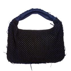 Bottega Veneta Navy-blue Leather Hobo Bag with Cotton Overlay