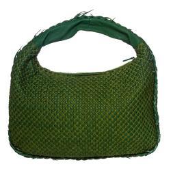 Bottega Veneta Green Leather/Textured-cotton-overlay Designer Hobo Bag