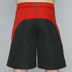 Zonal Men's 'Borg' Black/ Red Color-block Swim Shorts