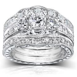 14k White Gold 1 1/4ct TDW Diamond 3-piece Bridal Ring Set (H-I, I1-I2)