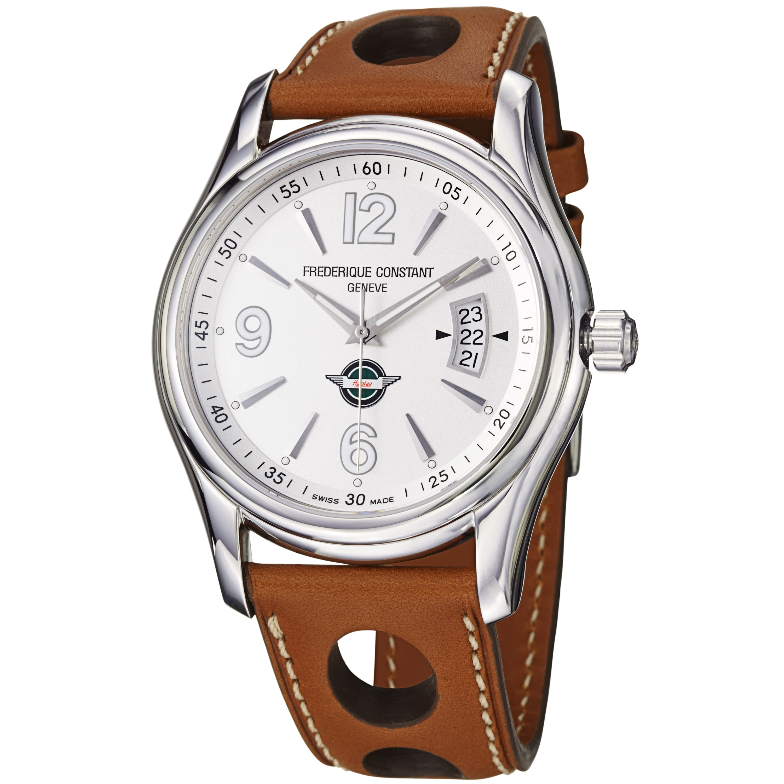 Frederique Constant Men's 'Healey' Silver Dial Tan Leather Strap Watch
