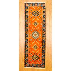 Indo Hand-knotted Kazak Orange/ Navy Wool Rug (2'1 x 6'8)