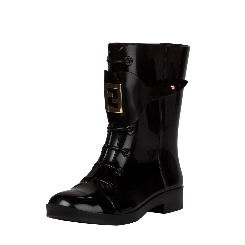 Fendi Women's Black Lace-up Rubber Short Rain Boots