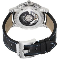 Graham Mens Silverstone Black Dial Black Leather Strap GMT Watch