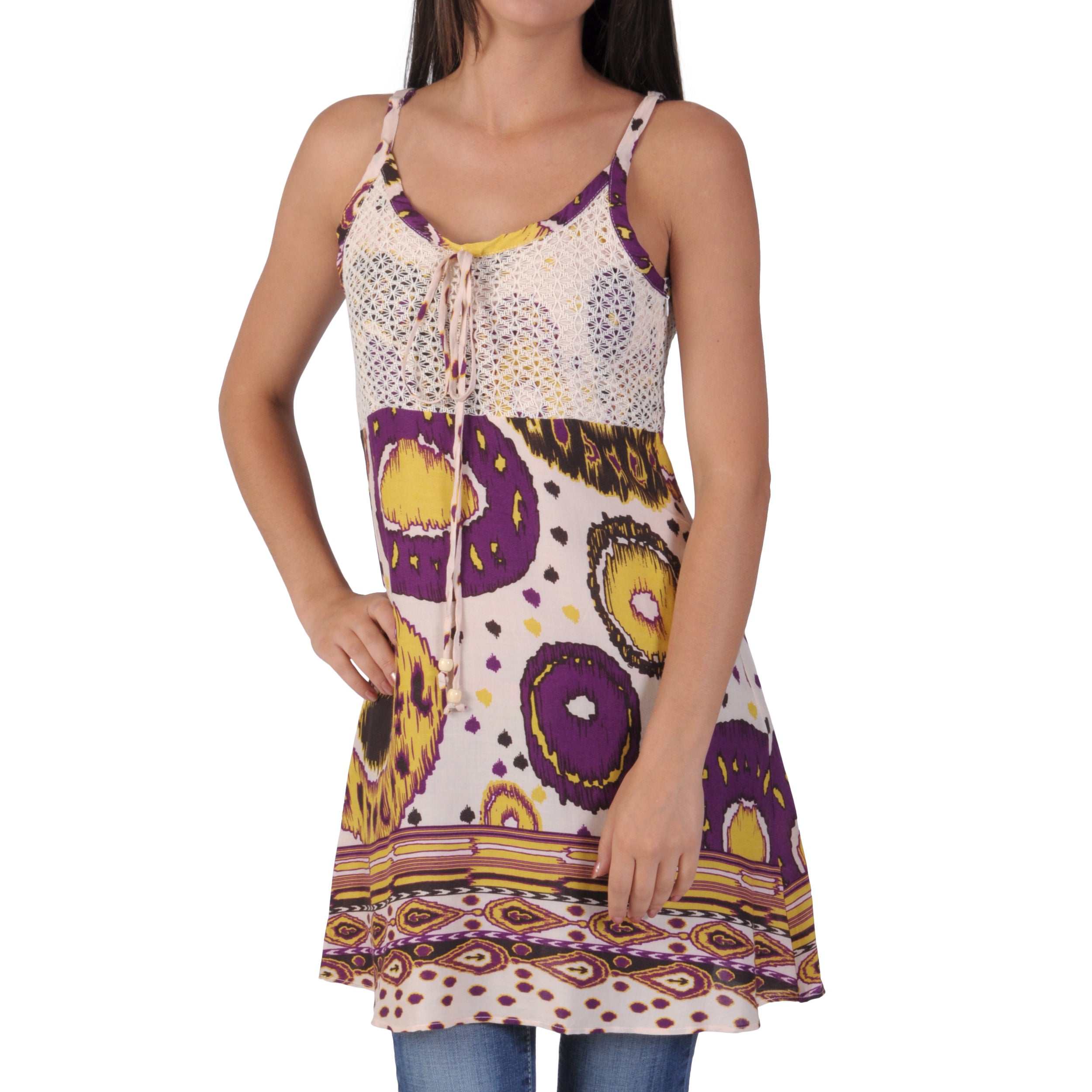 Funky People Juniors Tribal Pattern Crochet Accent Tunic Top