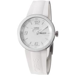 Oris Men&#39;s &#39;TT1&#39; White Dial White Rubber Strap Automatic Watch