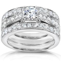 14k White Gold 1 1/3ct TDW Diamond 3-piece Bridal Ring Set (H-I, I1-I2)