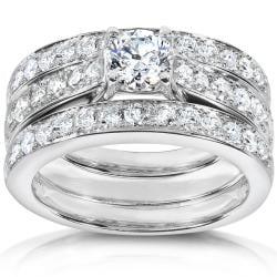 14k White Gold 1 1/3ct TDW Diamond 3-piece Bridal Ring Set (H-I, I1-I2)