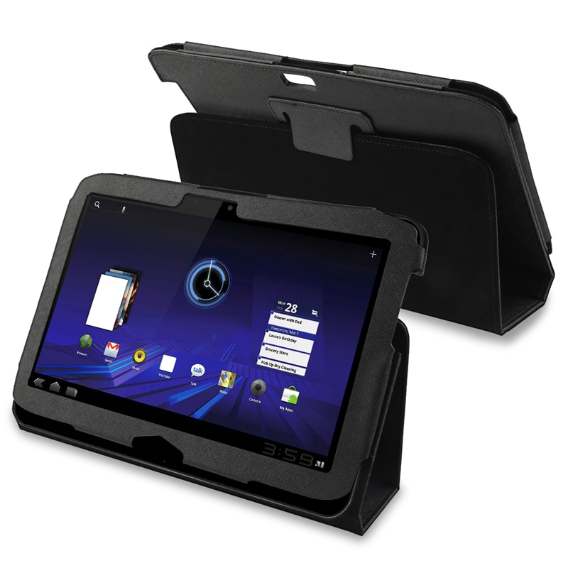 Black Leather Case for Motorola Xoom 2