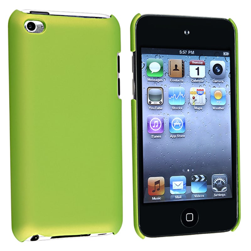 Green Snap-on Rubber Coated Case for Apple iPod Touch 4th Generation