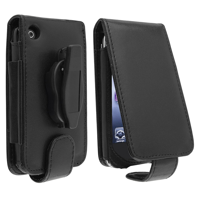 Black Leather Wallet Case with Belt Clip for Apple iPhone 3G/ 3GS
