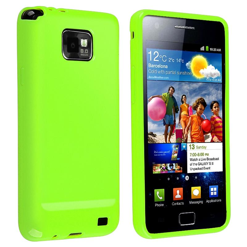 Green Jelly TPU Rubber Skin Case for Samsung Galaxy S II i9100