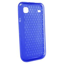 Clear Blue Diamond TPU Rubber Skin Case for Samsung Galaxy S i9000