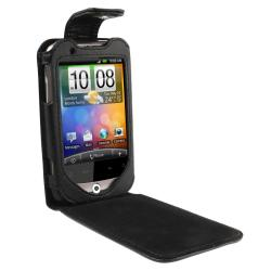 Black Leather Case with Belt Clip for HTC Wildfire