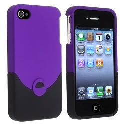 Purple/ Black Rear Snap-on Rubber Coated Case for Apple iPhone 4/ 4S