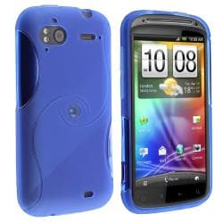 Clear Blue S Shape TPU Rubber Skin Case for HTC Sensation 4G