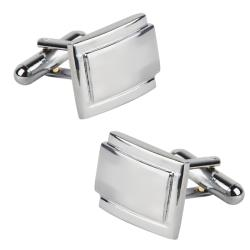 Polished Silver Rectangle Cufflinks Version Two (Set of Two)