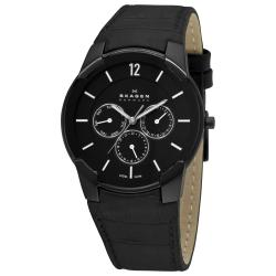 Skagen Men's 'Steel' Black Dial Leather Strap Multifunction Watch