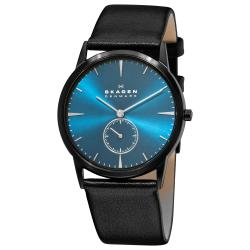 Skagen Men's 'Steel' Blue Dial Black Leather Strap Quartz Watch