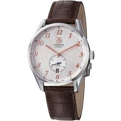 Tag Heuer Men's 'Carrera' Silver Dial Brown Leather Strap Watch
