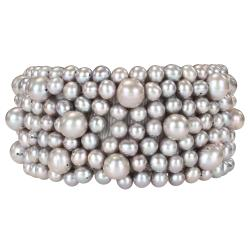 Gray Grade-A Freshwater Pearl Stretch Elastic Bracelet (5.5-8mm)